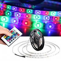 Комплект светодиодной RGB ленты 5 метров LED 3528 в силиконе с блоком питания, пультом и контроллером