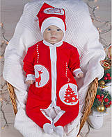 """Комбинезон """"Новогодняя игрушка"""", Красный, 62 (3 мес)"""