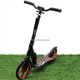 Двухколесный самокат Best Scooter с амортизатором и зажимом руля, колеса 22/20 см, Черно-оранжевый (34750)