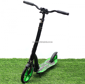 Самокат двухколесный BEST SCOOTER амортизатор, колеса PU, 230 мм, зеленый, до 100 кг (52266)