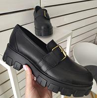 Туфлі з пряжкою чорні шкіряні чорні на платформі, 37 і 40 розміри