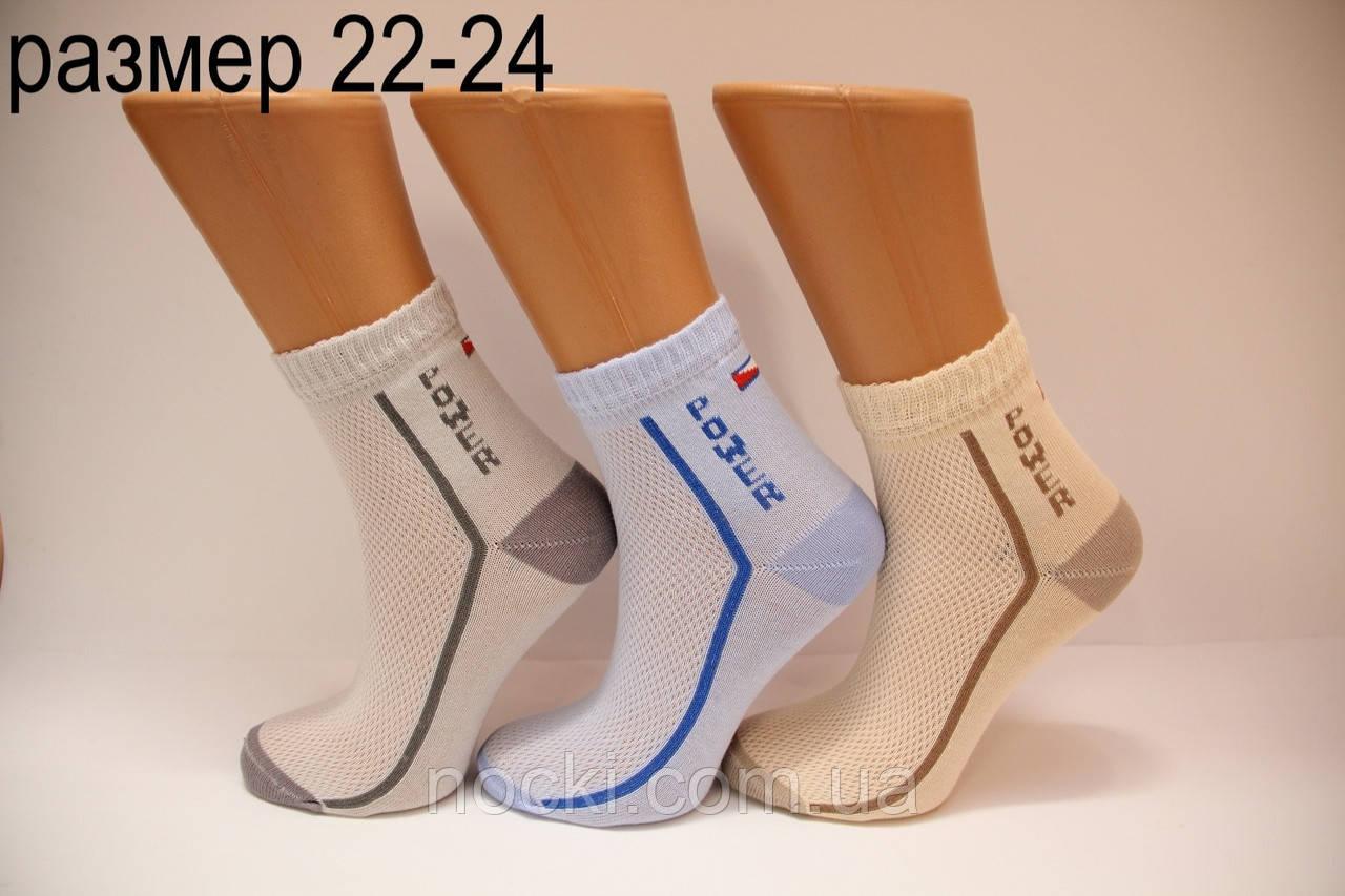 Подростковые носки средние с хлопка в сеточку Стиль люкс  22-24  818(340)