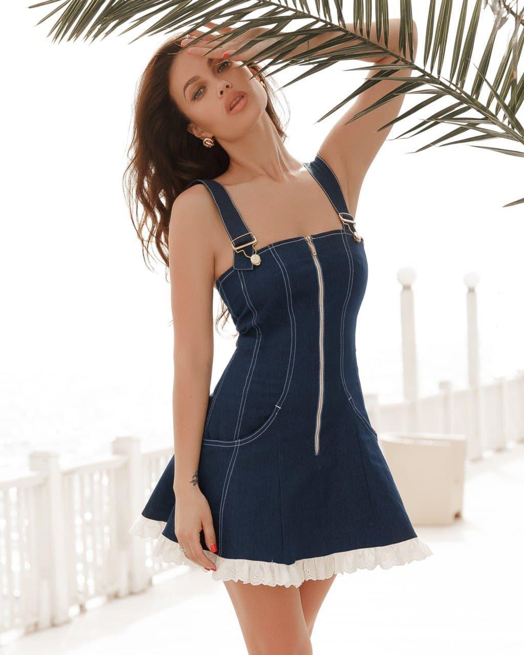 Сарафан женский джинсовый мини AniTi 543, синий