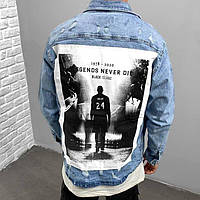 Молодежная джинсовая мужская куртка потертая с принтом синяя | Модная джинсовка производство Турция