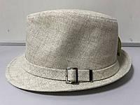 Шляпа мужская летняя льняная большого размера 59-61 белая и бежевая бежевый
