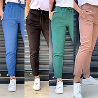 Женские летние льняные брюки. Размеры: 42, 44, 46, 48, 50. Цвет: чёрный, мокко, изумруд, джинс.