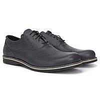 Чорні туфлі шкіряні броги чоловіче взуття демісезонне Rosso Avangard Сomfort Floto Black