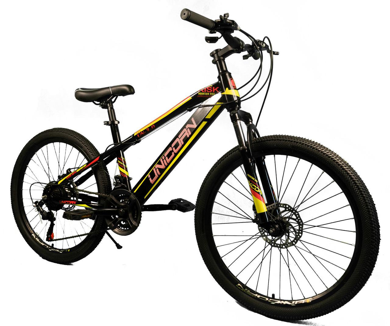 """Велосипед Unicorn - Brisk 24"""" розмір рами 15"""" чорний з жовтим"""