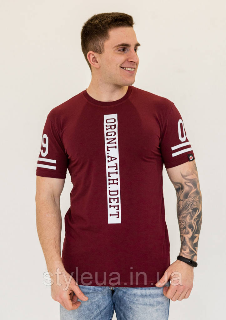 Молодежная однотонная мужская футболка в спортивном стиле с надписями из 100% хлопка, фото 2