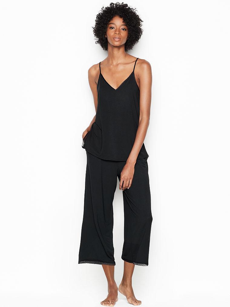 Трикотажна Піжама Victoria's Secret Supersoft Modal PJ Set з майкою і кюлотами, р. L, Чорна