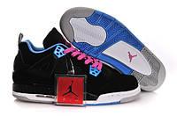Женские баскетбольные кроссовки Air Jordan Retro 4 Black/Blue/Pink