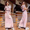 Летнее длинное прямое платье с поясом, капюшоном, карманами и разрезами по бокам (р.42-56). Арт-2944/23