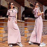 Літній довге пряме плаття з поясом, капюшоном, кишенями і розрізами з боків (р. 42-56). Арт-2944/23