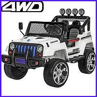 Дитячий електромобіль Jeep 4 мотора по 45W 2аккумулятора повнопривідний Джип Bambi з пультом управління