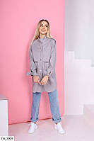 Кардиган-рубашка женский красивый из джинс-коттона с длинным рукавом р-ры 42-44,46-48 арт 0290
