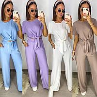 Женский стильный прогулочный летний костюм. Размер: 42-44, 46-48. Цвет: лиловый, белый, голубой, темная пудра.