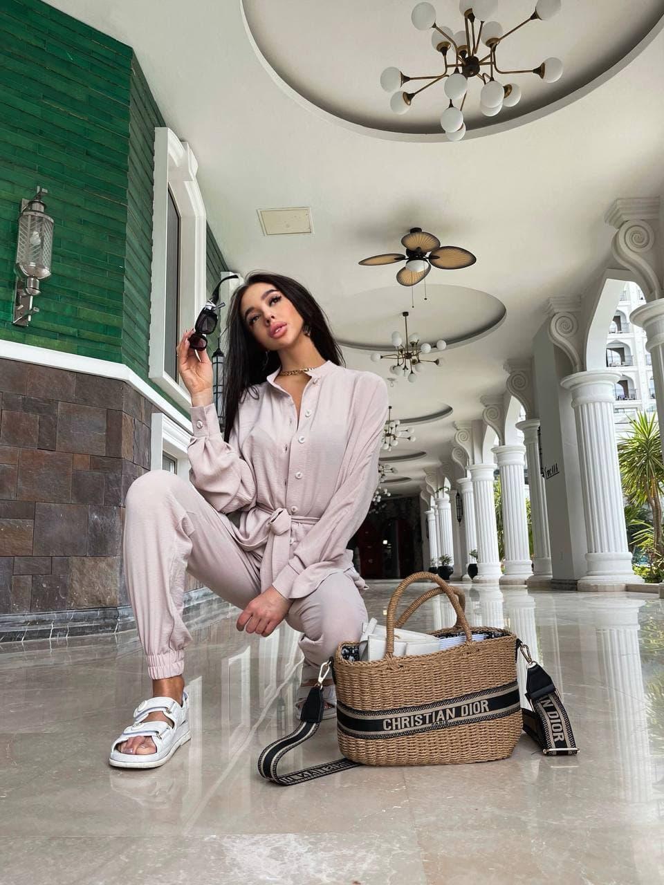 Летний костюм женский с рубашкой приталенной и джоггерами (р. 42-46) 71101803