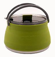 Чайник Tramp силиконовый с металлическим дном 1л олива TRC-125