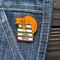 "Значок, брошь-значок, пин из металла на одежду, металлический значок ""Котик с книгами"" I Love Books"