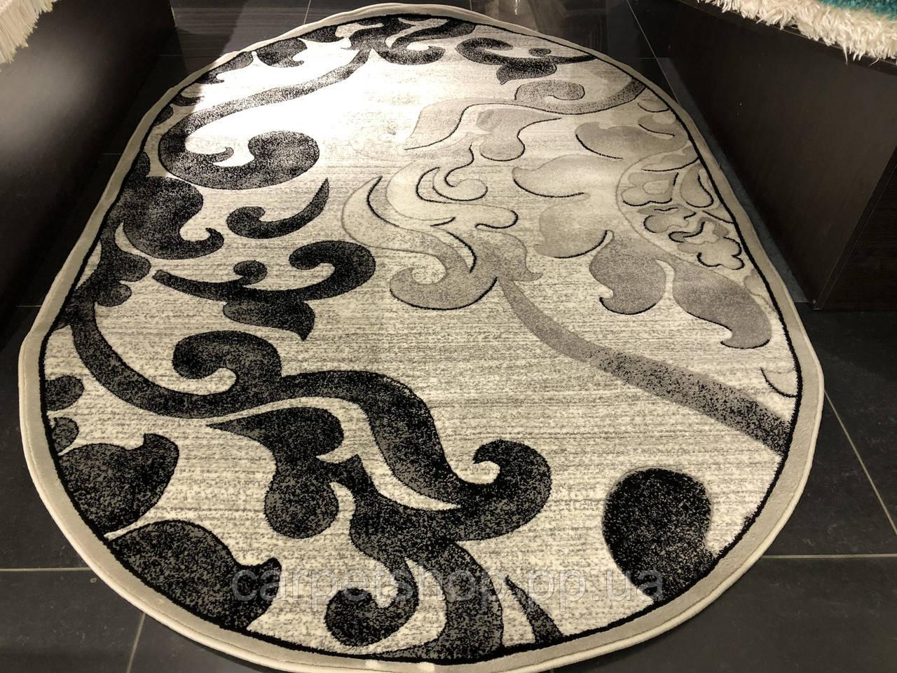 160х230 ковер Sonata 2201/160 овал цвет серый.