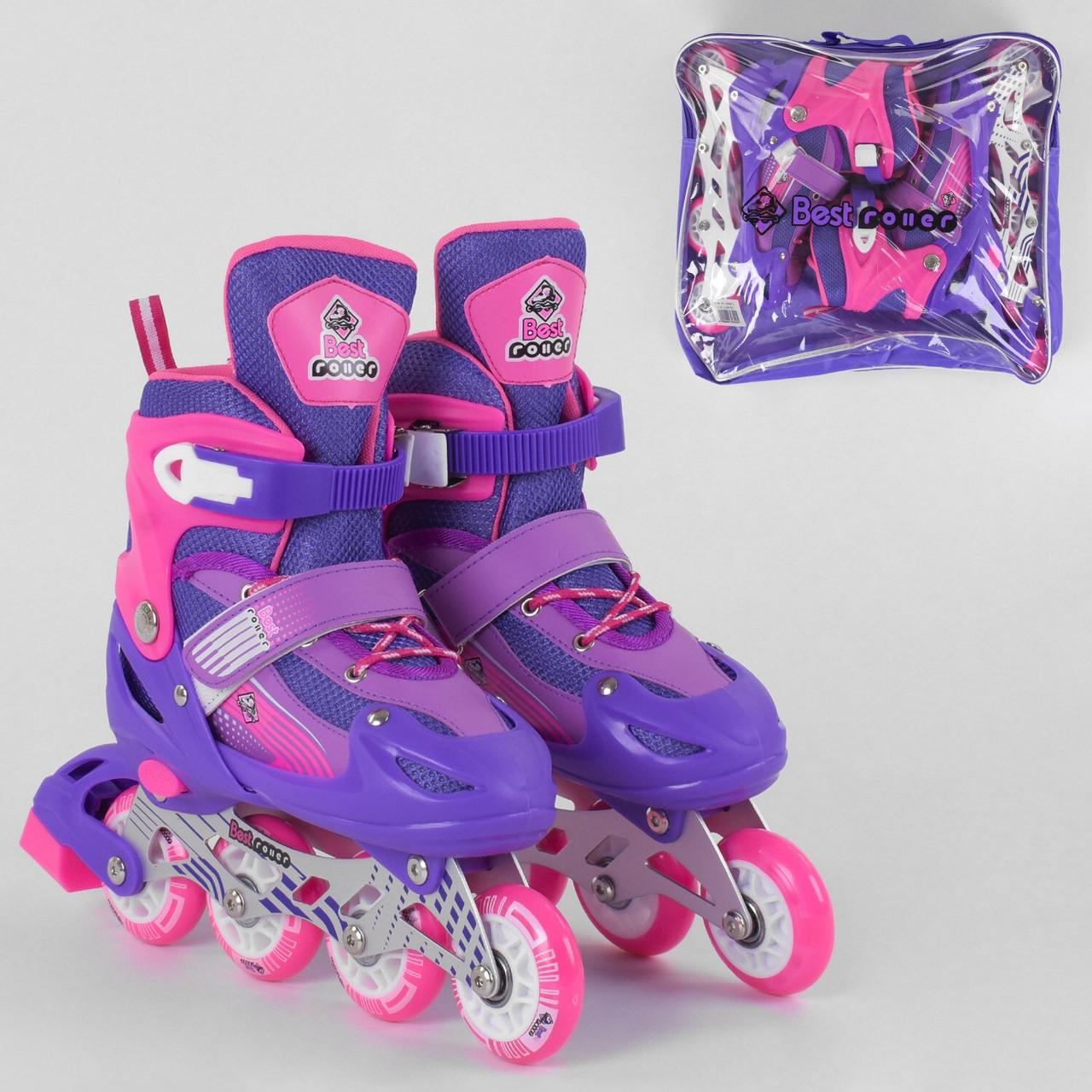 Детские ролики для девочки раздвижные / роликовые коньки светиться колесо / размер 34-37