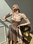 Атласне коротке плаття з розкльошеною спідницею і чашками пуш ап (р. S, M) 66032456Q, фото 8