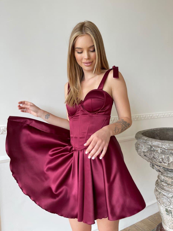 Атласне коротке плаття з розкльошеною спідницею і чашками пуш ап (р. S, M) 66032456Q