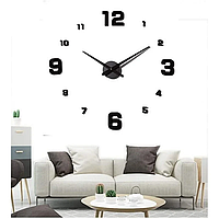 Большие настенные 3D часы DIY Clock NEW с цифрами, кварцевые, самоклеящееся 60-120 см, фото 1