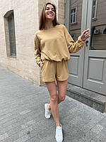 Летний женский костюмчик свитшот+шорты. Размер: 42-46. Цвет: бежевый, черный.