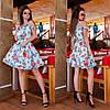 Літній красиве яскраве кольорове коротке плаття воланами і відкритими плечима р. 42-48. Арт-2948/23