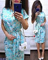Красивое прямое женское мятное платье с принтом цветы за колено под пояс прямое  р-ры 42-48 арт.  8018/8019