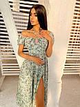 Цветочное платье миди со спущенными плечами и разрезом на ноге (р. S, M) 66032458Е, фото 4