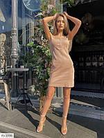 Короткий облягаюче жіночу сукню-майка по фігурі на літо тканина рубчик р-ри 42-48 арт. 316