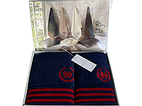Набор полотенец Maison D'or Delon Navy Red махровые 30-50 см,50-100 см,70-140 см синий