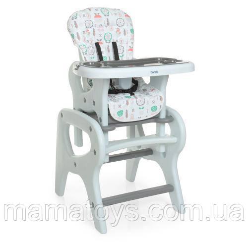 Детский стульчик со столиком для кормления M 0816 Flowers Gray - Цветы Серый