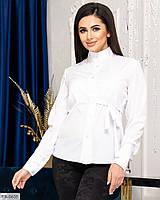 Жіноча стильна блузка біла з довгим рукавом в діловому стилі р-ри 42-44,46-48 арт 0654