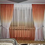 Комплект штор на 3-х метровый карниз «Шифон-растяжка» Омбре Карнавал Градиент (Серого цвета), фото 7