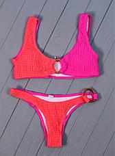 Купальник раздельный жатка с кольцами розово - малиновый, фото 3
