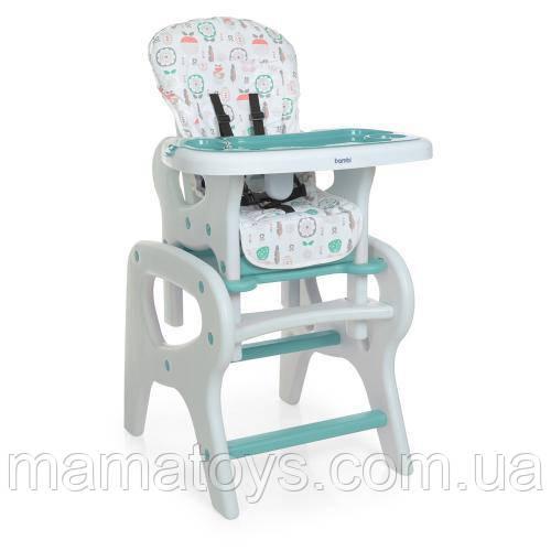 Дитячий стільчик зі столиком для годування M 0816 Flowers Mint - Квіти Ментоловий