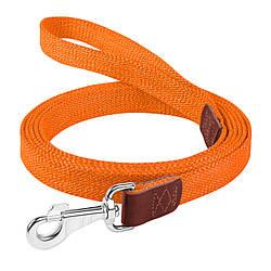 Брезентовий поводок для собак КОЛЛАР бавовняні тасьма д. 200 см ш. 25 мм Червоний помаранчевий