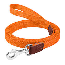 Брезентовий поводок для собак КОЛЛАР бавовняні тасьма д. 300 см ш. 25 мм Червоний помаранчевий