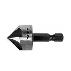 "Зенкер конический по металлу YATO: HSS, O = 20.5 мм, l = 45 мм, 5 кромок, HEX- 1/4 """