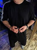 Костюм мужской оверсайз модный молодежный с лампасами штаны+футболка весна лето