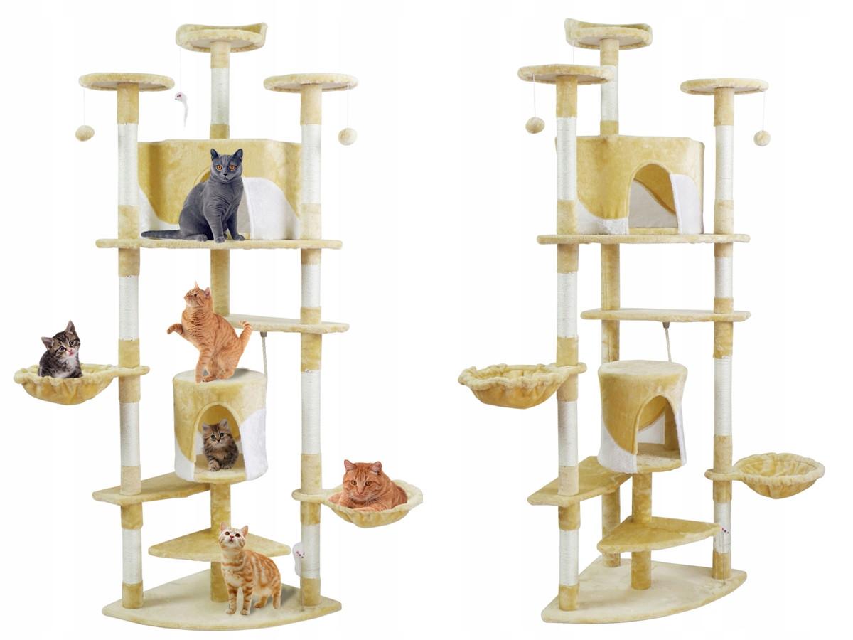 Когтеточка, домики, дряпка для кошек 200 см бежевая