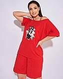 Жіночий літній спортивний костюм футболка і шорти розмір: 50-52, 54-56, 58-60, 62-64, фото 3