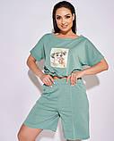 Жіночий літній спортивний костюм футболка і шорти розмір: 50-52, 54-56, 58-60, 62-64, фото 2
