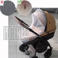 Універсальна москітна сітка на дитячу коляску на резинці по периметру 90х50 3966 Білий