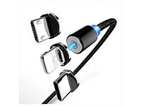 Магнітний кабель для швидкої зарядки X-cable 3в1 Lightning Micro USB Type-C Чорний, фото 1