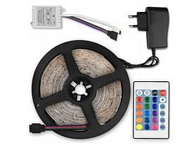 Світлодіодна стрічка LED 3528 RGB 5м з пультом і блоком живлення, стрічка-гірлянда