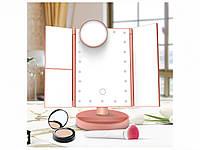 Тройное зеркало для макияжа LED Mirror с подсветкой Розовое, фото 1